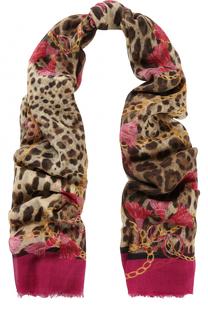 Шарф из смеси кашемира и шелка с принтом Dolce & Gabbana