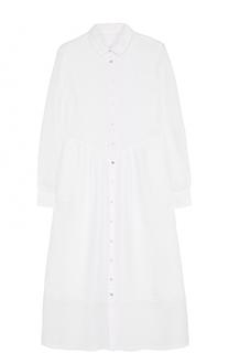 Льняное платье-рубашка с полупрозрачными вставками 120% Lino