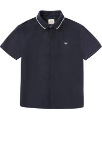 Льняная рубашка с логотипом бренда и коротким рукавом Giorgio Armani