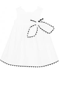 Хлопковое платье свободного кроя с контрастной отделкой и бантом Tartine Et Chocolat