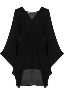 Удлиненная шелковая блуза с поясом Isabel Benenato