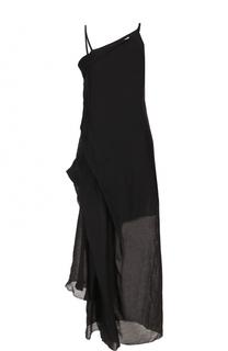 Платье-макси асимметричного кроя с драпировкой Isabel Benenato