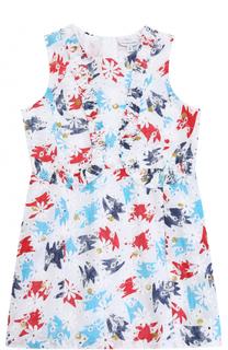 Хлопковое платье с принтом и перфорацией Marc Jacobs