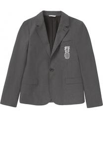 Однобортный пиджак из хлопка с нашивкой Dolce & Gabbana
