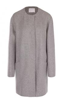 Пальто прямого кроя с круглым вырезом HUGO