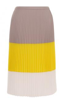 Плиссированная юбка-миди в полоску HUGO