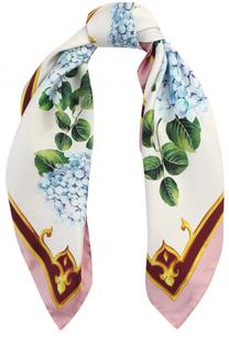 Шелковый платок с цветочным декором Dolce & Gabbana