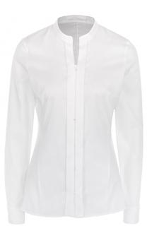 Приталенная хлопковая блуза с круглым вырезом HUGO
