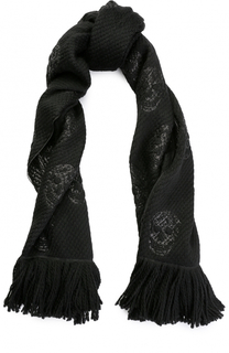 Шерстяной шарф с металлизированной отделкой Alexander McQueen