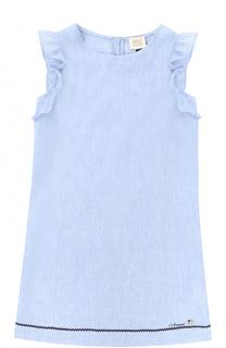 Льняное платье прямого кроя с оборками и контрастной отделкой Giorgio Armani