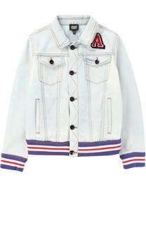 Куртка из денима с нашивкой и эластичными вставками Giorgio Armani