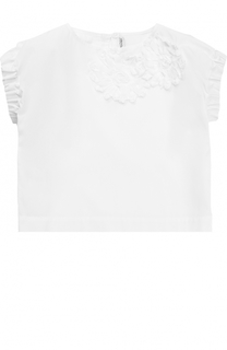 Хлопковая блуза с эластичными вставками и аппликациями Simonetta