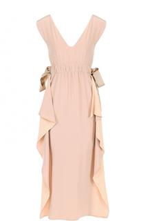 Шелковое платье-миди с оборками Fendi