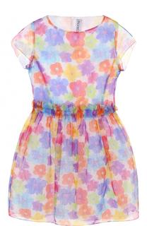 Мини-платье с ярким принтом и оборкой Simonetta
