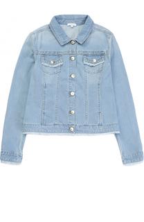 Куртка из денима с бахромой на карманах Chloé