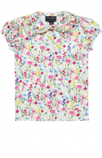 Хлопковая блуза с ярким принтом Oscar de la Renta