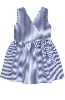 Хлопковое мини-платье в полоску с бантом без рукавов Stella Jean