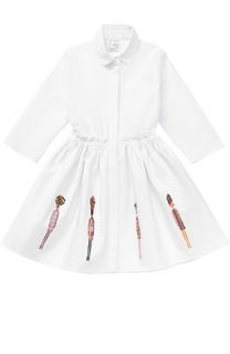 Хлопковое мини-платье с аппликациями и оборкой на поясе Stella Jean