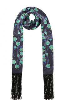 Шелковый шарф с принтом с бахромой Giorgio Armani