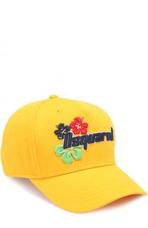 Бейсболка с контрастной вышивкой и логотипом бренда Dsquared2