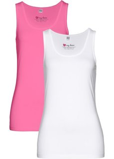 Майка из эластичного джерси (2 шт.) (ярко-розовый фламинго + белый) Bonprix