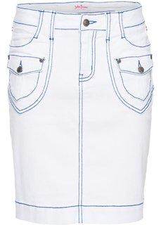 Джинсовая юбка-стретч (белый) Bonprix