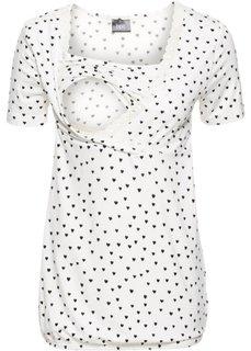 Кружевная футболка для будущих и кормящих мам (кремовый с рисунком) Bonprix