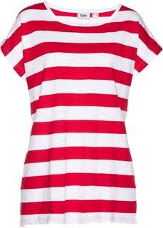 Свободная футболка с коротким рукавом (красный/белый в полоску) Bonprix