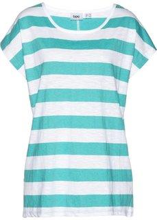 Свободная футболка с коротким рукавом (зеленый океан/белый в полоску) Bonprix