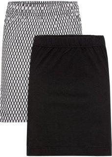 Трикотажная мини-юбка (2 шт.) (черный/ черный/белый с рисунком) Bonprix