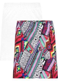 Трикотажная мини-юбка (2 шт.) (белый/разные расцветки с рисунком) Bonprix