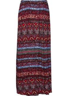 Трикотажная юбка (темно-красный с рисунком) Bonprix
