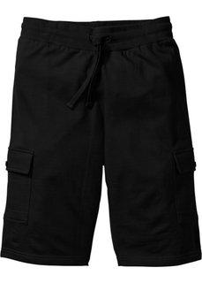 Трикотажные бермуды Slim Fit (черный) Bonprix