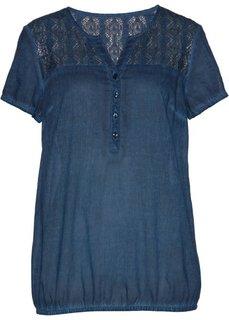 Блузка с кружевной отделкой и коротким рукавом (темно-синий) Bonprix
