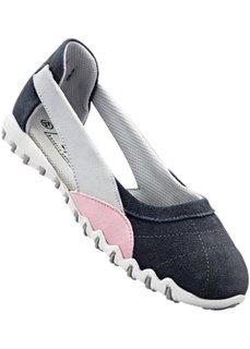 Спортивные кожаные балетки (серый/розовый) Bonprix