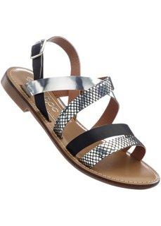 Кожаные сандалии (серебристый/черный) Bonprix