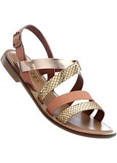 Кожаные сандалии (золотистый/верблюжий) Bonprix