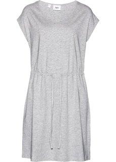 Трикотажное платье стретч с тропическим принтом (светло-серый меланж) Bonprix