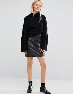 Кожаная юбка в байкерском стиле Just Female - Черный
