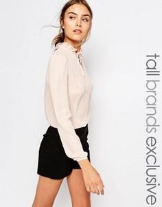 Блузка с длинными рукавами и горловиной на завязке Alter Tall - Кремовый