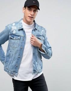 Джинсовая эластичная потертая куртка цвета светлого индиго Tommy Hilfiger Denim - Синий