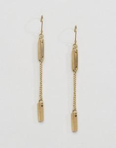 Серьги с подвесками-планками Made - Золотой