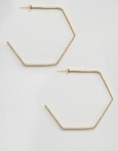 Золотистые серьги-кольца в форме шестигранников Made - Золотой