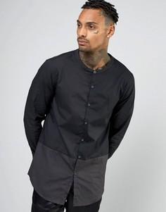 Длинная рубашка с воротником на пуговицах AKA - Черный