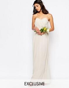 Шифоновое платье‑бандо макси TFNC WEDDING - Серый