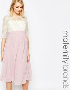 Платье миди для беременных с кружевным лифом Little Mistress Maternity - Мульти
