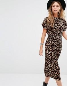 Платье миди со складками и леопардовым принтом New Look - Мульти