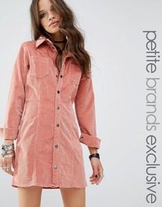 Розовое вельветовое платье на пуговицах Glamorous Petite - Розовый
