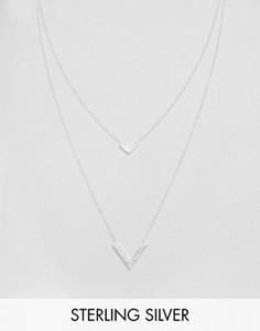 Двухрядное ожерелье с V-образными подвесками Gorjana Knox - Серебряный