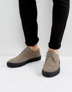 Серые замшевые дерби на шнуровке с черной подошвой ASOS - Серый
